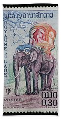 Beach Towel featuring the photograph The King's Elephant Vintage Postage Stamp Print by Andy Prendy