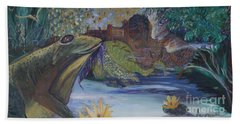To Kiss A Frog Beach Towel by Avonelle Kelsey