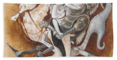 Beach Towel featuring the painting The Knight Tale by Marina Gnetetsky