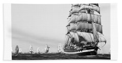 The Kruzenshtern Departing The Port Of Cadiz Beach Towel