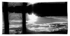 The Lake - Black And White Beach Sheet