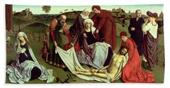 The Lamentation Over The Dead Christ Oil On Panel Beach Towel