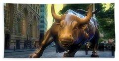 The Landmark Charging Bull In Lower Manhattan 2 Beach Towel