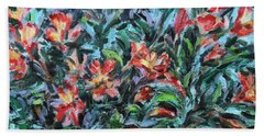 Beach Towel featuring the painting The Late Bloomers by Xueling Zou
