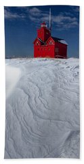The Lighthouse Big Red During Winter In Holland Michigan Beach Sheet by Randall Nyhof