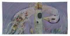 The Lighthouse Keeper And The Swan #1  Beach Towel by Avonelle Kelsey