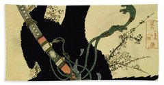 The Little Raven With The Minamoto Clan Sword Beach Towel by Katsushika Hokusai