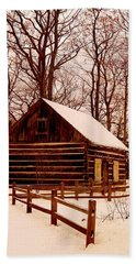 The Log Cabin At Old Mission Point Beach Towel