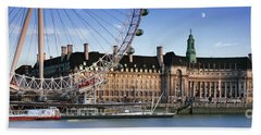 The London Eye And County Hall Beach Towel by Rod McLean