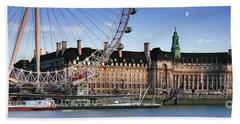 The London Eye And County Hall Beach Towel