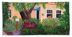Beach Towel featuring the painting The Long Wait by Karen Zuk Rosenblatt