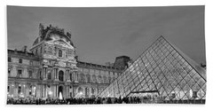 The Louvre Black And White Beach Towel