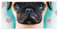 Beach Towel featuring the digital art The Love Pug by Catia Lee