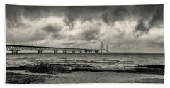The Mackinac Bridge B W Beach Towel