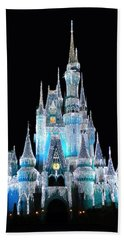 The Magic Kingdom Castle In Frosty Light Blue Walt Disney World Beach Towel by Thomas Woolworth