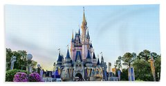 The Magic Kingdom Castle On A Beautiful Summer Day Horizontal Beach Towel by Thomas Woolworth