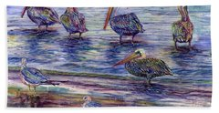 The Majestic Pelican Visit Beach Towel