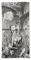 The Man On The Rack Plate II From Carceri D'invenzione Beach Sheet by Giovanni Battista Piranesi