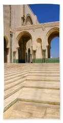 Beach Sheet featuring the photograph The Massive Colonnades Leading To The Hassan II Mosque Sour Jdid Casablanca Morocco by Ralph A  Ledergerber-Photography