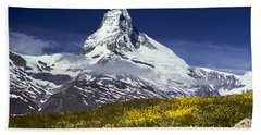 Beach Towel featuring the photograph The Matterhorn With Alpine Meadow In Foreground by Jeff Goulden