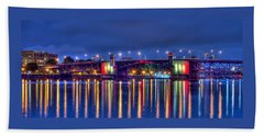 Morrison Bridge Reflections Beach Sheet by Thom Zehrfeld