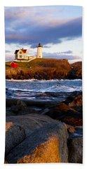 The Nubble Lighthouse Beach Towel by Steven Ralser
