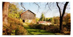 Beach Towel featuring the photograph The Old Barn by Trina  Ansel