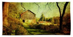Beach Towel featuring the photograph The Old Barn With Texture by Trina  Ansel