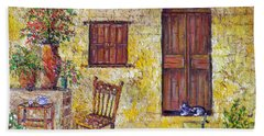 Beach Towel featuring the painting The Old Chair by Lou Ann Bagnall