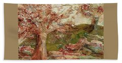 Beach Towel featuring the painting The Old Fence Line by Mary Wolf