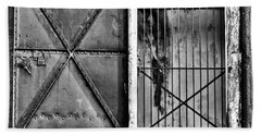 The Old Fort Gate-black And White Beach Towel