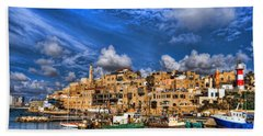 the old Jaffa port Beach Sheet by Ron Shoshani