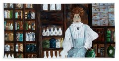 Beach Sheet featuring the painting The Old Pharmacy ... Medicine In The Making by Eloise Schneider