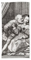 The Old Prurient, After A 16th Century French Engraving By Jaspar Isaac.   From Illustrierte Beach Towel