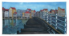 The Old Queen Emma Bridge In Curacao Beach Towel
