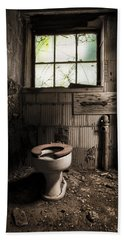 Beach Towel featuring the photograph The Old Thinking Room - Abandoned Restroom And Toilet by Gary Heller