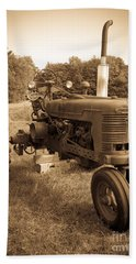 The Old Tractor Sepia Beach Towel