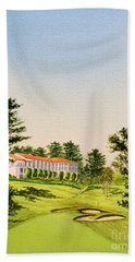 Beach Towel featuring the painting The Olympic Golf Club - 18th Hole by Bill Holkham