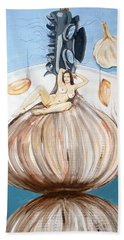 Beach Towel featuring the painting The Onion Maiden And Her Hair La Doncella Cebolla Y Su Cabello by Lazaro Hurtado