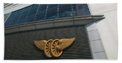 The Peak Tram Terminus Building Sign Beach Sheet by Panoramic Images