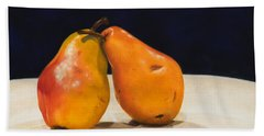 Beach Towel featuring the painting The Pearfect Pair by Dee Dee  Whittle