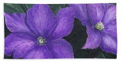 Beach Towel featuring the painting The President Clematis by Sharon Duguay