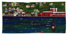 The Red And White Fishing Boat Carenage Grenada Beach Towel