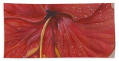 The Red Hibiscus In Dew Time Beach Towel by Carol Wisniewski