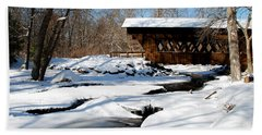 The River Flows Under The Springwater Covered Bridge Beach Sheet by Janice Adomeit