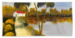 Beach Sheet featuring the painting The Riverhouse by Pamela  Meredith