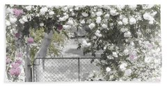 Beach Towel featuring the photograph The Rose Arbor by Elaine Teague