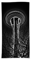 The Seattle Space Needle At Night Beach Sheet by David Patterson