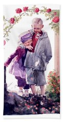 Watercolor Of A Boy And Girl In Their Secret Garden Beach Towel