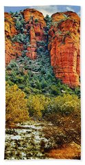 Beach Towel featuring the photograph The Secret Mountain Wilderness In Sedona Back Country by Bob and Nadine Johnston